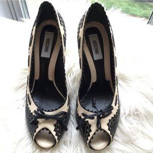 MOSCHINO Black & Cream Ribbon Detail Pump Heels